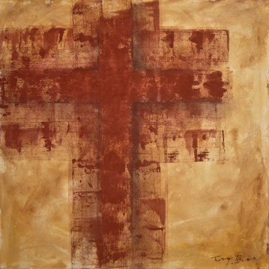 acrylic painting the Cross 2 by American artist Tony A. Blue