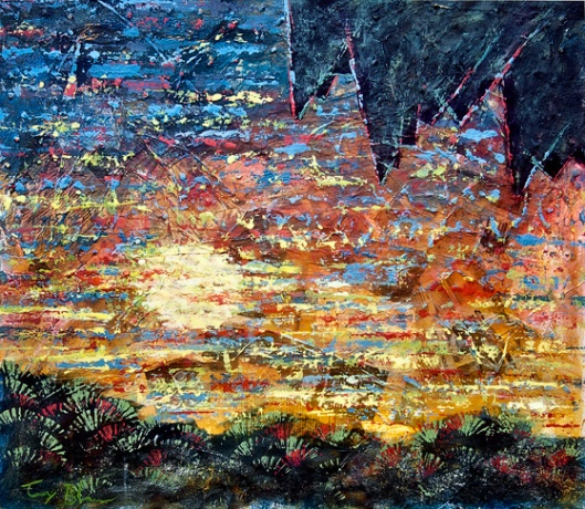 acrylics and mixed media painting, Sunset in the Tropics 5 by American artist Tony A. Blue